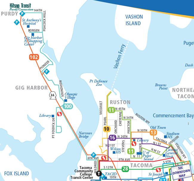 System Map - Northwest > Pierce Transit