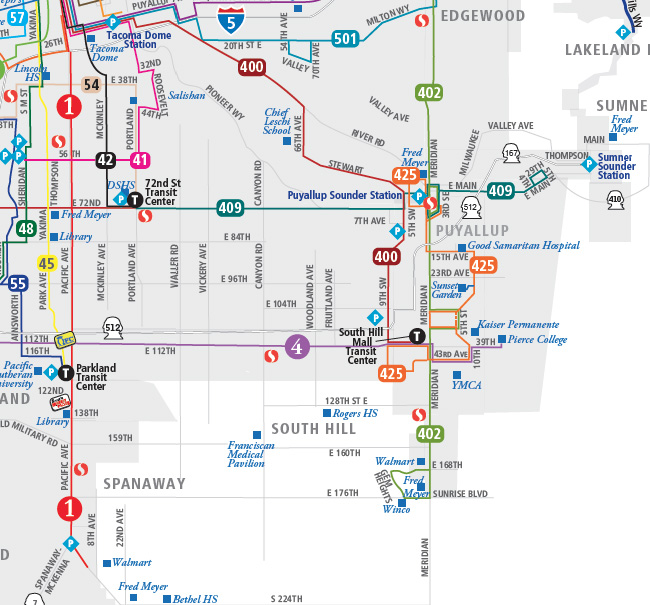 Pierce Transit South East Map