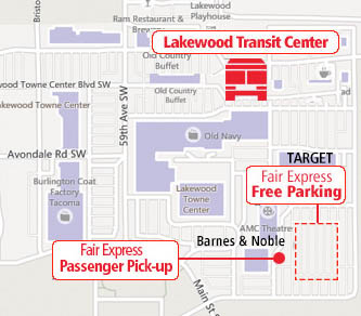 Park behind Target at Lakewood Towne Center